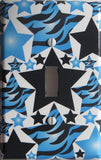 Blue Zebra Print Star Light Switch Plate Cover