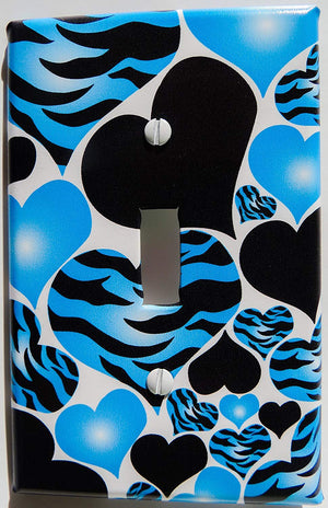 Presto Wall Decals Blue Radial Heart Zebra Print Light Switch Plate Cover
