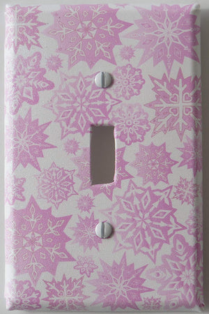 Pink Snowflakes Light Switch Plate Cover