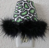 Green Leopard Print Night Light with Black Feathered Boa Trim in Green and Black
