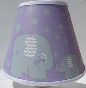Elephant Night Lights / Purple with Grey Dandelions / Elephant Nursery Wall Decor