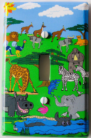 Animals Safari Light Switch Plate Cover Single Toggle African Wildlife Animal Wall Decor with Zebras, Giraffes, Hippos, Elephants