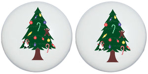 Christmas Tree Drawer Knobs Christmas Holiday Decor Ceramic Cabinet Pulls (Set of Two)