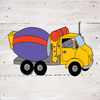 Construction Trucks Art Prints on a White Washed 6 x 6 Rustic Natural Wood Pallet