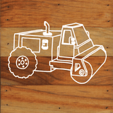 Construction Trucks Art Prints on a 6 x 6 Rustic Aged Natural Wood Pallet