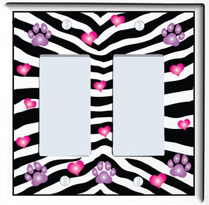 Purple Dog Paw Prints with Pink Hearts and Zebra Print  Switch Plate and Outlet Covers Wall Decor