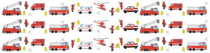 Fire Trucks and Fire Fighter Wall Border Wall Decals 4.5 inch Wide x 13 Feet Long