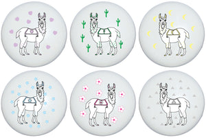 Llama Drawer Knobs Ceramic Full Body Llamas Alpaca Cabinet Pulls for Nursery or Children's Room Decor (Set of 6)