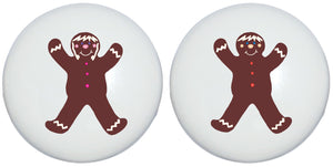 Gingerbread Man Christmas Drawer Knobs Holiday Decor Ceramic Cabinet Pulls (Set of Two)