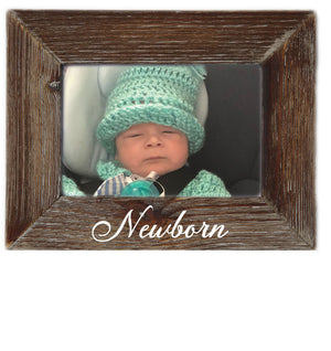Newborn Milestone Natural Wood 4 x 6 Picture Frame  Rustic Nursery Home Decor