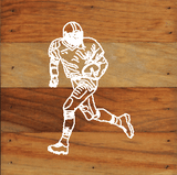 Football Art Prints on a 6 x 6 Rustic Aged Natural Wood Pallet