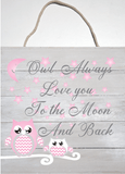 White Washed Pink Owl Moon and Stars Wall Hanging Nursery Decor Art