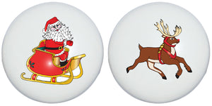 Santa Claus and Rudolf The Red Nose Raindeer Drawer Knobs Christmas Holiday Decor Ceramic Cabinet Pulls (Set of Two)