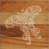 Butterfly Chalk White Art Prints on a 6 x 6 Rustic Aged Natural Wood Pallet