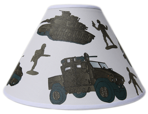 Army Tanks and Trucks with Toy Soldiers Lamp Shade  Childrens Kids Army Men Lampshade Decor
