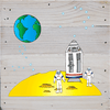 Space theme Art Prints on a White Washed 6 x 6 Rustic Natural Wood Pallet