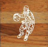 Basketball Art Prints on a 6 x 6 Rustic Aged Natural Wood Pallet