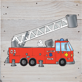 Fire Trucks Art Prints on a White Washed 6 x 6 Rustic Natural Wood Pallet
