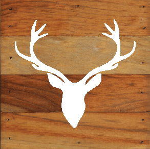 Woodland Deer silhouette Chalk White on a 6 x 6 Rustic Aged Natural Wood Pallet
