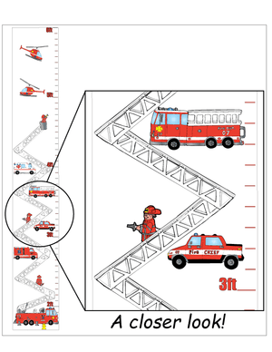 Fire Truck Growth Chart Wall Art Decor Vinyl Removable Adhesive Fire Fighters Wall Decals Stickers