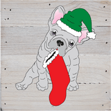 Holiday French Bulldog Art Prints on a White Washed 6 x 6 Rustic Natural Wood Pallet