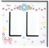 Llamacorn with Pastel Flowers and Butterflies Light Switch Plate Covers and Outlet Covers/llamacorn Nursery Decor