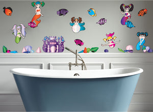 Mermaid Wall Decals Stickers Mural Decor with Mermaids snf Sea Shells