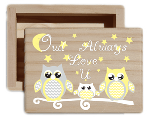 Owl Always Love U Natural Wood Keepsake Collectible Box