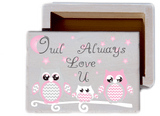 Owl Always Love U White wash Wood Keepsake Collectible Box