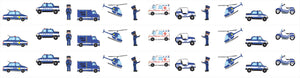 Police Cars and Trucks Wall Border Wall Decals 4.5 inch Wide x 13 Feet Long