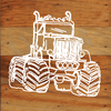 Monster Truck Chalk White Art Prints on a 6 x 6 Rustic Aged Natural Wood Pallet