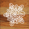 Frozen Snowflakes Chalk White Art Prints on a 6 x 6 Rustic Aged Natural Wood Pallet