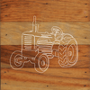 Tractor Chalk White Art Prints on a 6 x 6 Rustic Aged Natural Wood Pallet