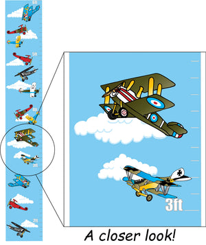 Vintage Airplane Growth Chart Wall Art Decor Vinyl Removable Adhesive Airplane Wall Decals Stickers