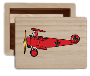 Vintage Plane Natural Wood Keepsake Collectible Box