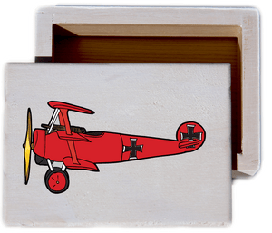 Vintage Plane White Wash Wood Keepsake Collectible Box