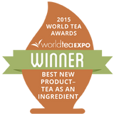 Winner Badge from the 2015 World Tea Awards, winner of the Best New Product in the tea as an ingredient category.