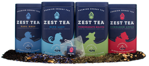 Zest Tea (60 sachets) - All 4 flavors: Blue Lady Black, Pomegranate Mojito Green, Earl Grey Black, and Cinnamon Apple - Energy Tea - 15 sachets per tin - 135-150mg of caffeine per sachet