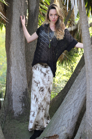 Brown Tie Dye Maxi Skirt