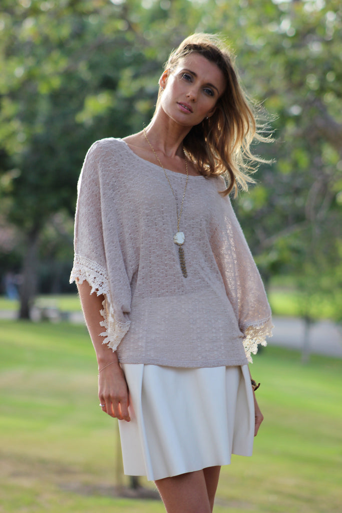 Dolman Top with Lace Trim