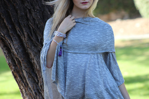 Salt & Pepper Off Shoulder Poncho