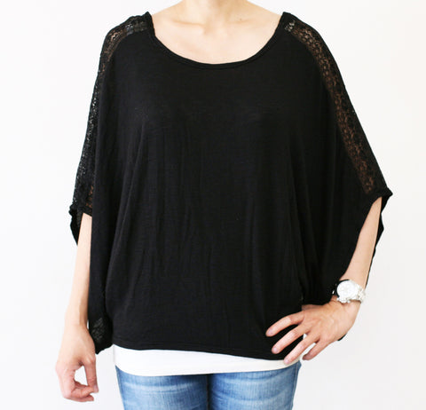 Dolman Sleeve Lace Shoulder Top