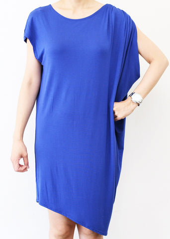 Short Blue Asymetrical Dress