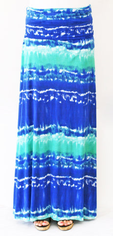 Blue & Teal Tie Dye Maxi Skirt