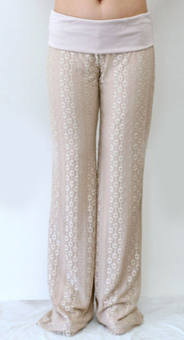 Nude Lace Pants with Full Lining