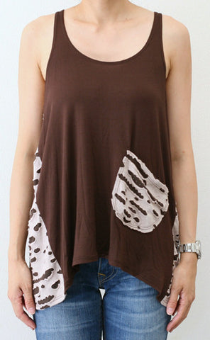 Brown Ripped Tank with Pocket