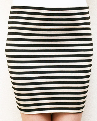 Black & White Striped Mini Skirt