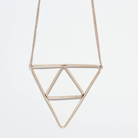 Gold Upsidedown Triangle Necklace Set