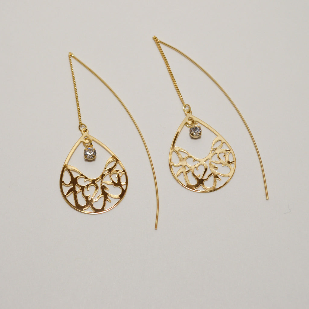 Tear Drop Thread Earrings