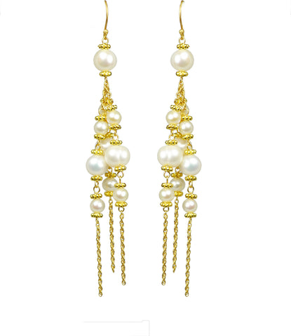 Pearl Linear Chandelier Earrings